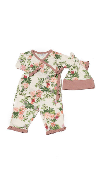 Baby's Ruffle Take-Me-Home 3 Piece  - Beige Floral