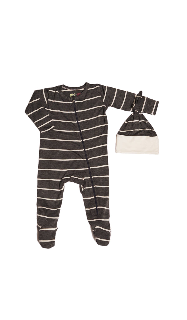 Footie 2 Piece  - Charcoal Stripe
