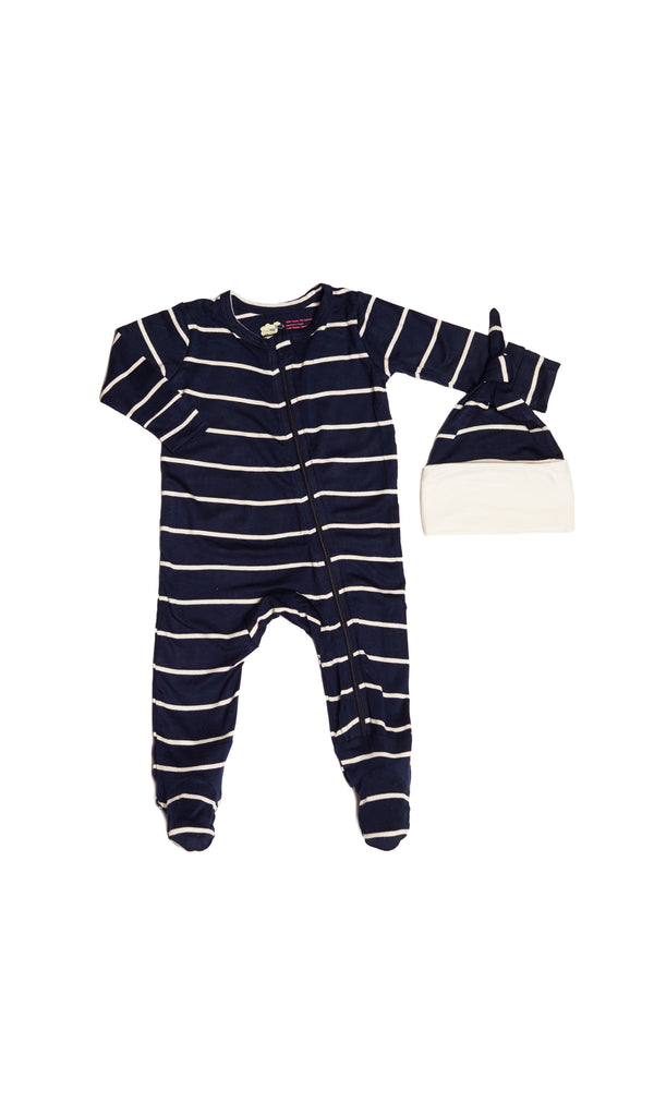 Footie 2 Piece  - Navy Stripe