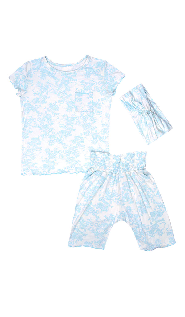 Bella Kids 3 Piece Short PJ  - Blue Chantilly