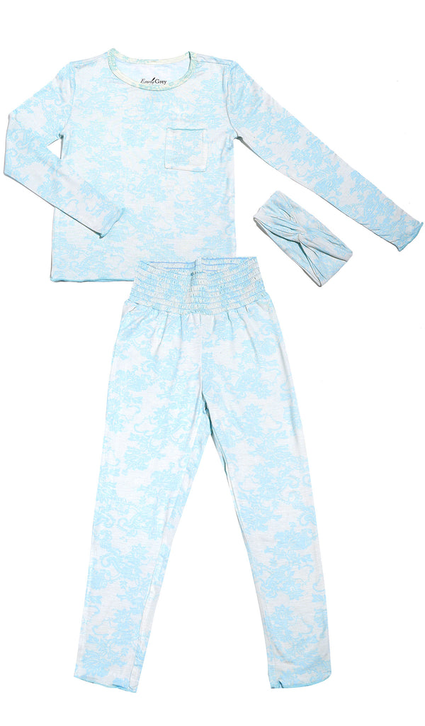 Charlie Kids 3 Piece Pant PJ  - Blue Chantilly