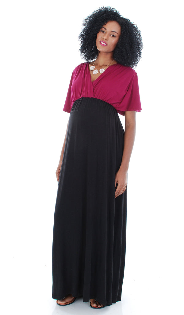 Goddess Dress Colorblock Magenta