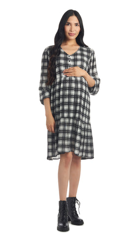 Tara Ivory Black Plaid