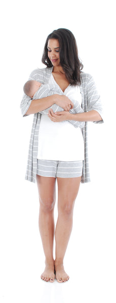 Daphne 5-Piece PJ Set - Grey Stripe