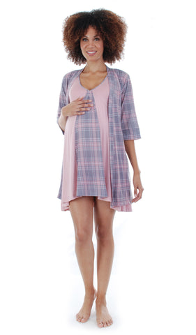 Dawn Chemise/Robe Pink Plaid - Final Sale