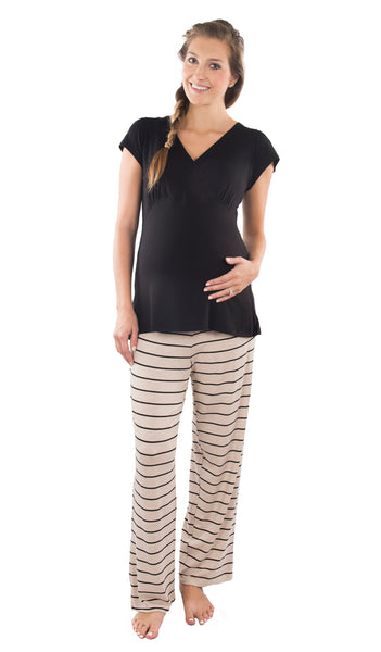 Serena 2 Piece PJ Set - Sand Stripe