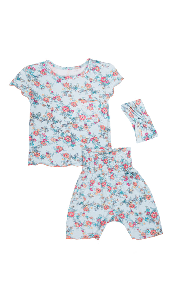 Bella Kids 3 Piece Short PJ  - Azure Mist