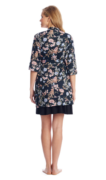Dawn Chemise/Robe Black Floral - Final Sale
