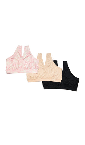 Paisley 3-Pack Sleep Bras Pink Chantilly