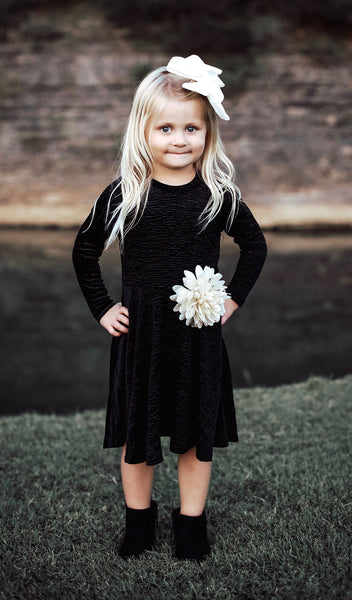 Kendyl Kids Velvet Twirly Dress - Black