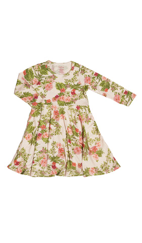 Kendyl Kids Twirly Dress - Beige Floral