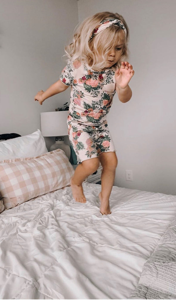 Bella Kids 3 Piece Short PJ  - Beige Floral