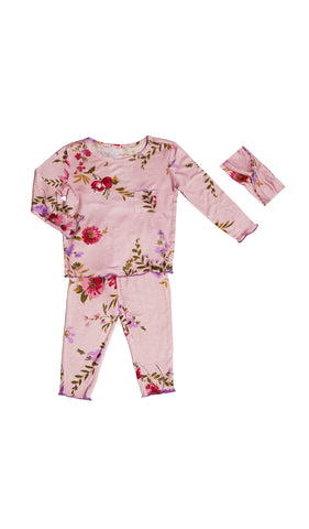 Charlie Kids 3 Piece Pant PJ - Dusty Rose