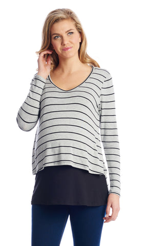 Payton Heather Grey Stripe - Final Sale