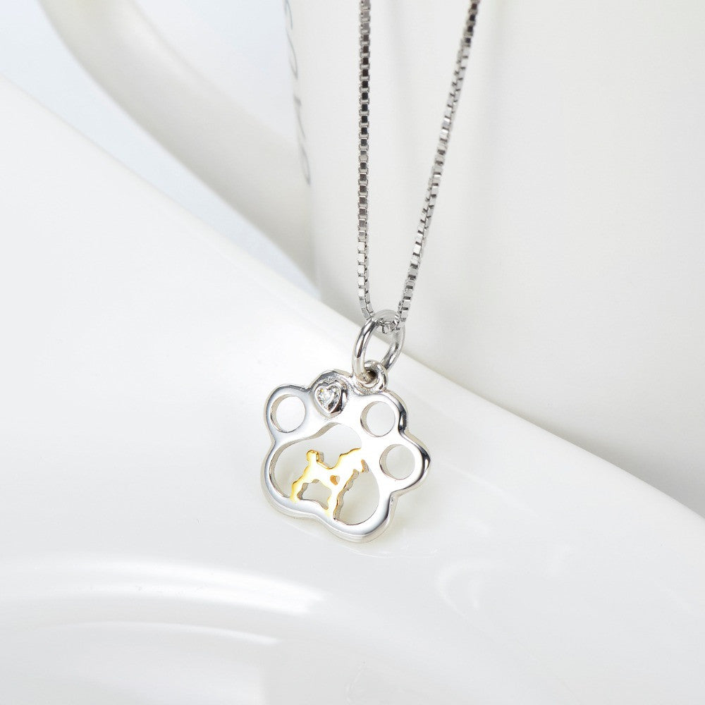 Limited Edition Pure Silver & Gold Dog Paw Necklace
