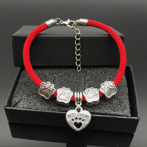 Exclusive Rope Chain Dog Paw Charm Bracelet