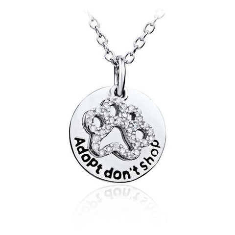 Sterling Silver 'Adopt don't shop' Paw Necklace