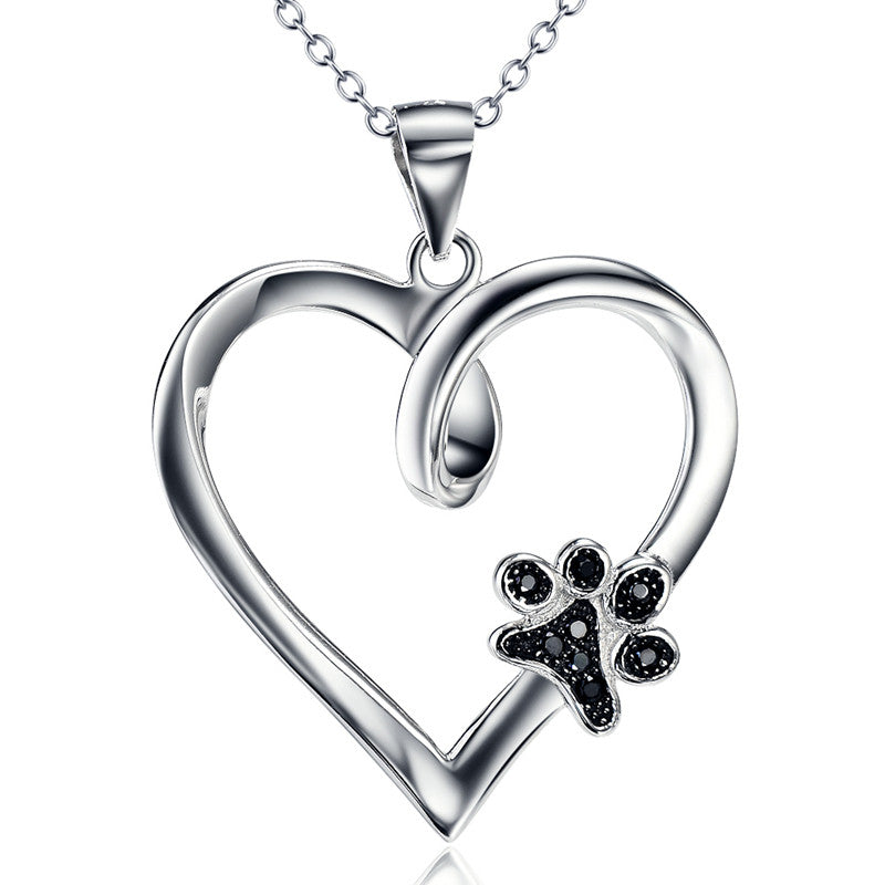 Limited edition pure sterling silver heart paw pendant necklace aloadofball Gallery