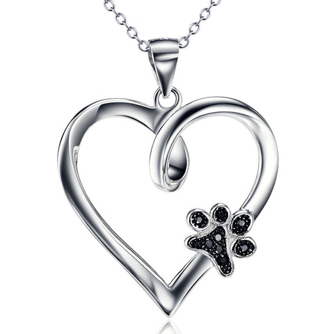 Limited Edition Pure Sterling Silver Heart & Paw Pendant Necklace
