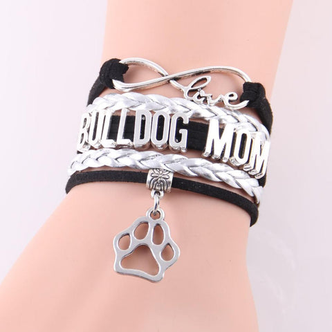 Infinity Love Bulldog Mom Paw Bracelet