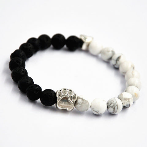 Limited Edition Yin-Yang Dog Paw & Heart Bead Bracelet