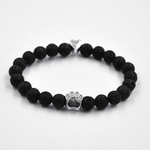 Exclusive Natural Stone Dog Paw & Lava Bead Bracelet