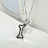Pure Sterling Silver Dog Bone and Paw Pendant Necklace