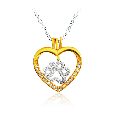 Exclusive Sterling Silver Paw & Gold Heart Pendant Dog Necklace