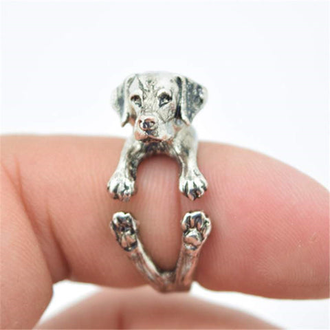 Retro Labrador Adjustable Rings