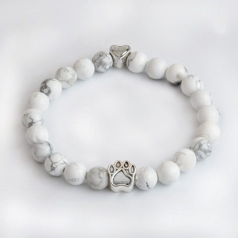 Paw & Heart Natural White Turquoise Beads Chakra Bracelet