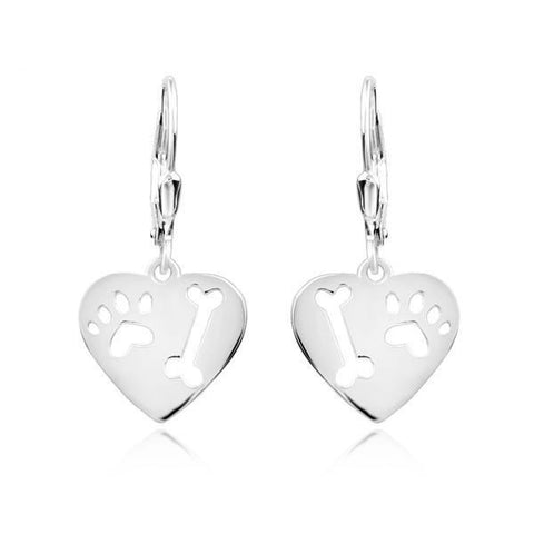 Paw and Bone Sterling Silver Drop Heart Earrings