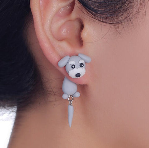 Grey Dog Stud Earring