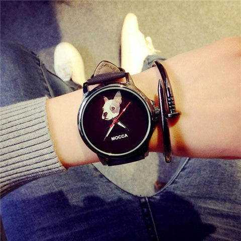 MOCCA Dog Black Quartz Wristwatch