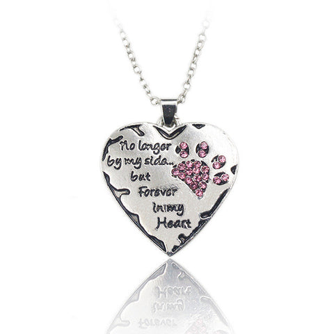 "Silver Crystal Dogs Paw and Heart Necklace - ""no longer be my side but forever in my heart"""