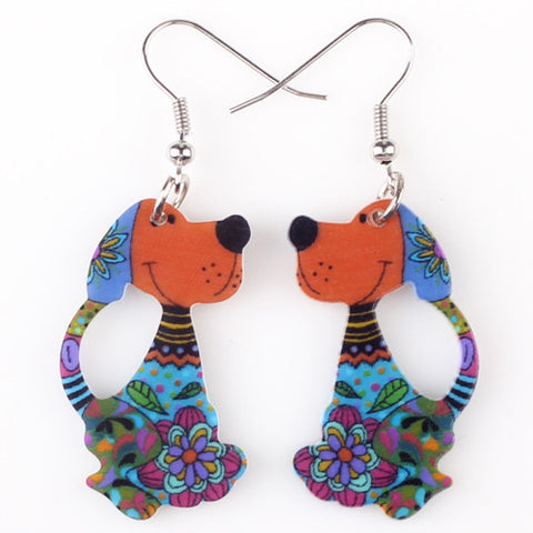 Acrylic Dog Drop Earrings