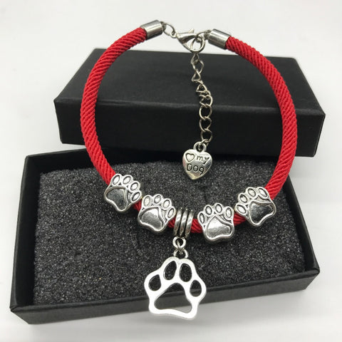 Love My Dog Rope Paw Charm Bracelet (With 2 Free Extra Changeable Charms!)