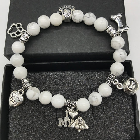 Natural Stone Dog Charm Bead Bracelet