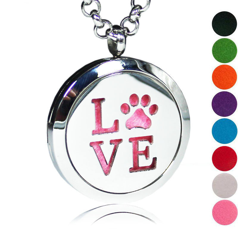Love Paw Essential Oils Diffuser Locket Necklace 5 Free Pads