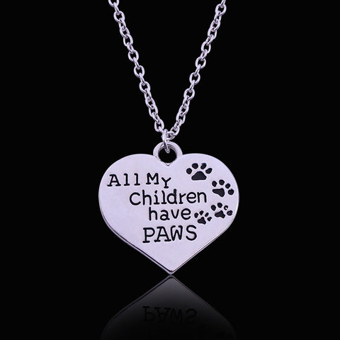 """All My Children Have Paws"" Engraved Heart Pendant Necklace"
