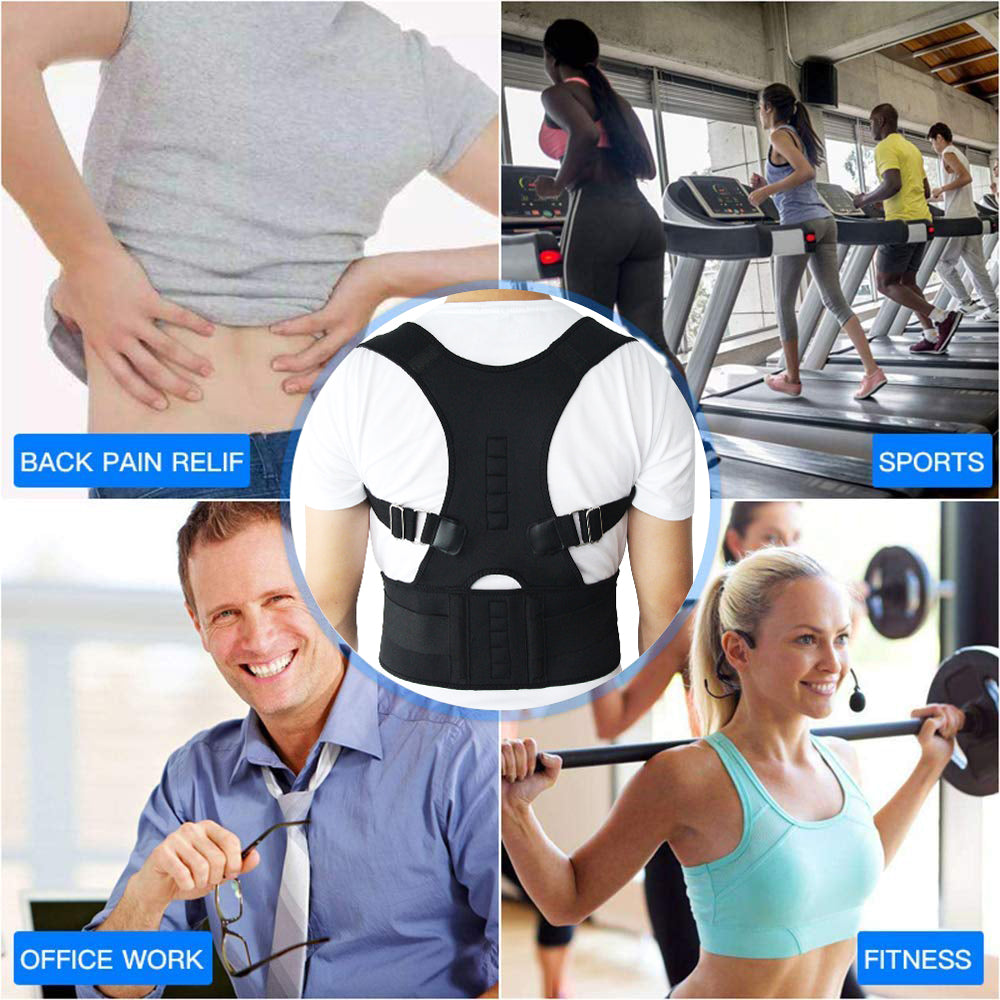 Aptoco Magnetic Therapy Posture Corrector Brace Shoulder Back Support Belt for Men Women Braces & Supports Belt Shoulder Posture - Stay Beautiful