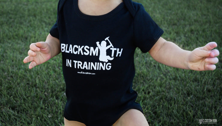 """Blacksmith in Training"" Baby Bodysuit, Apparel- Ken's Custom Iron Store, www.KensIron.com"