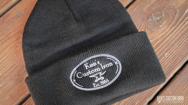 "Black ""Ken's Custom Iron"" Cuffed Beanie, Apparel- Ken's Custom Iron Store, www.KensIron.com"