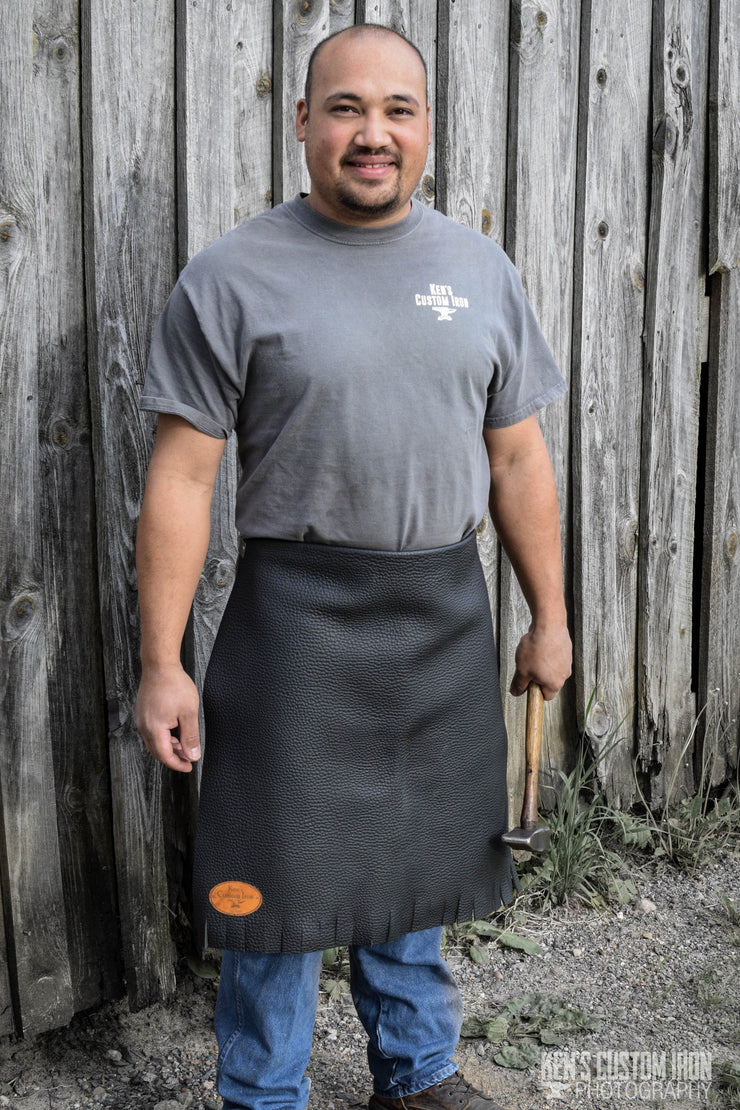 Black Leather Blacksmith Apron, Apparel- Ken's Custom Iron Store, www.KensIron.com