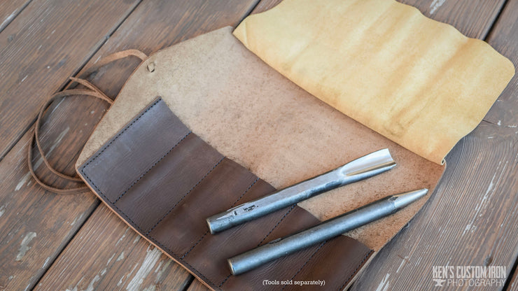 Leather Roll-Up Tool Pouch, Apparel- Ken's Custom Iron Store, www.KensIron.com
