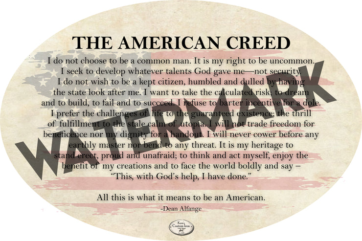 "Decals - ""American Creed"" Vinyl Sticker - FREE SHIPPING"