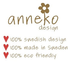 Anneko Design Sweden offers environmentally friendly paper products and textiles. The designs are always fun and colorful that will put a smile on anyone's face. Owner and founder Anneli Asplund illustrates her clean, crisp and simple designs in bright colors drawing inspiration from nature and her native Scandinavia. All of Anneko Design's products are made in Sweden from recycled materials.