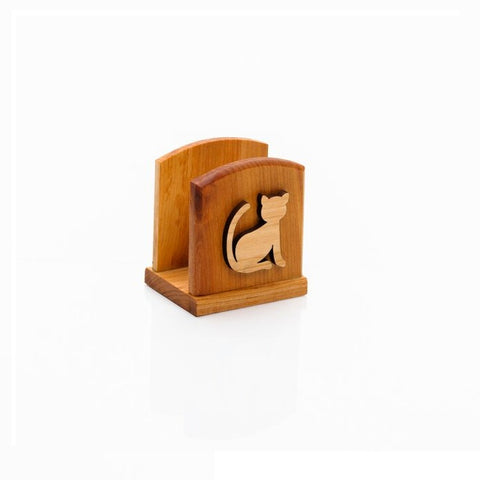 Wooden Napkin Holder - Cat