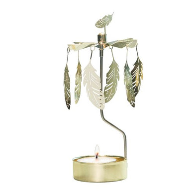Feathers Gold - Rotating Carousel Candle Holder