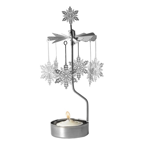 Rotating Carousel Candle Holder - Large Filigree Snowflakes