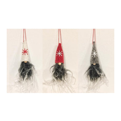 3 Pack Santa Tomte Nisse Ornaments - White, Red, Gray
